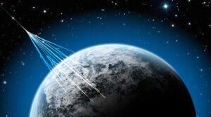 Cosmic rays hitting Earth. Credit: NSF/J. Yang